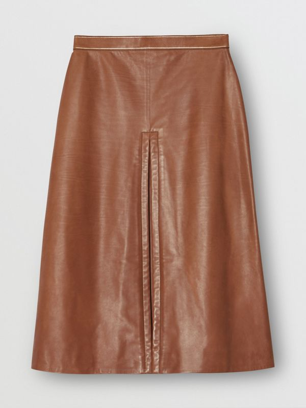 Box Pleat Detail Leather A-line Skirt in Flaxseed - Women | Burberry - cell image 3