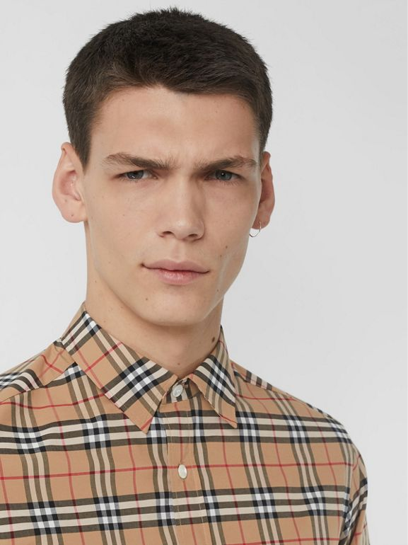 Check Stretch Cotton Shirt in Camel - Men | Burberry United States - cell image 1
