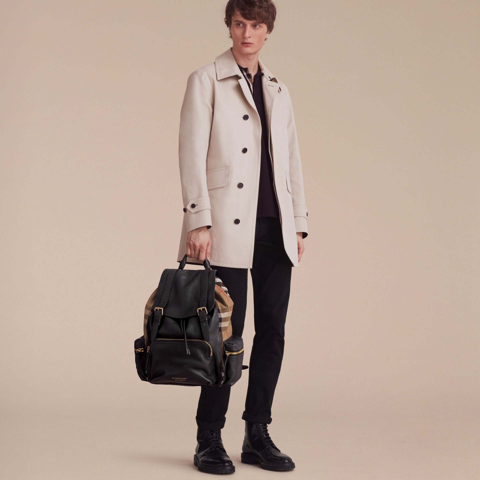 The Large Rucksack in Grainy Leather and House Check - gallery image 3