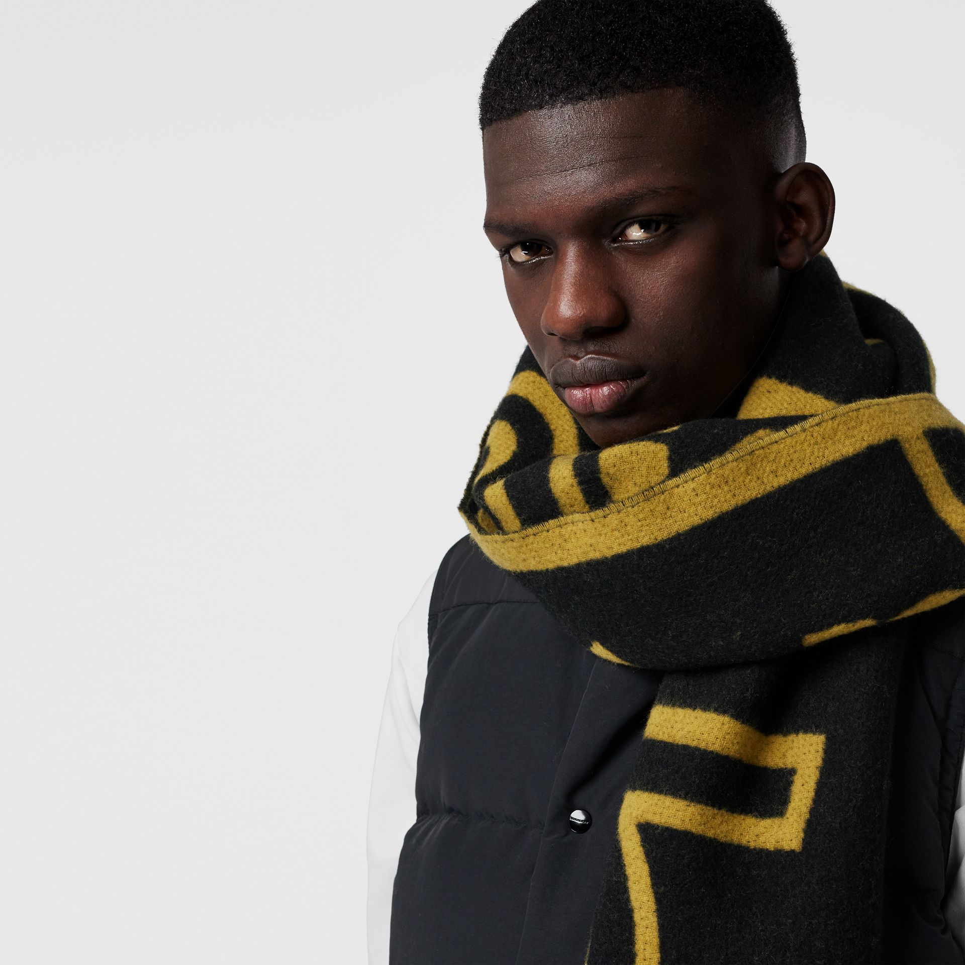 London Street Art Wool Cashmere Jacquard Scarf in Larch Yellow | Burberry - gallery image 5