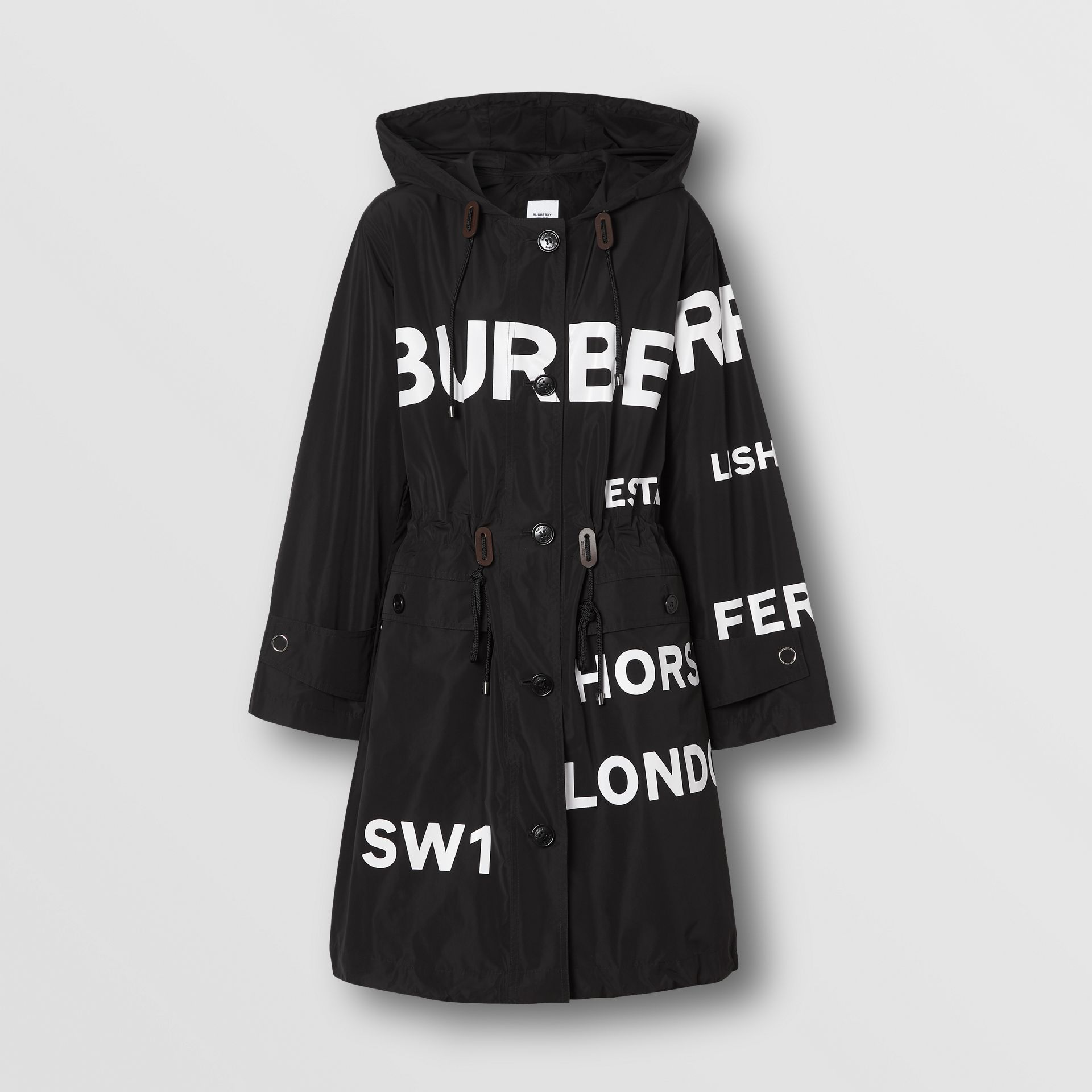 Horseferry Print Nylon Parka in Black - Women | Burberry - gallery image 3