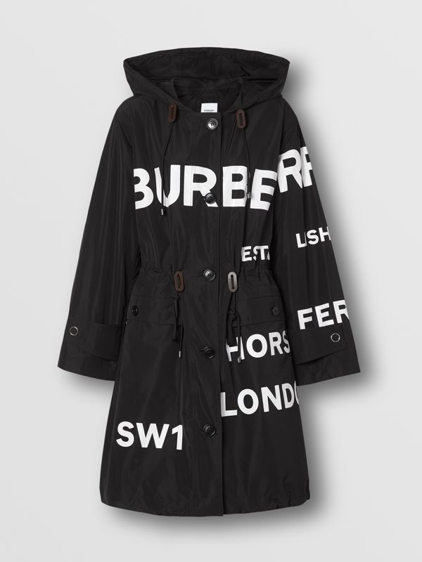 Horseferry Print Nylon Parka in Black - Women | Burberry - cell image 3