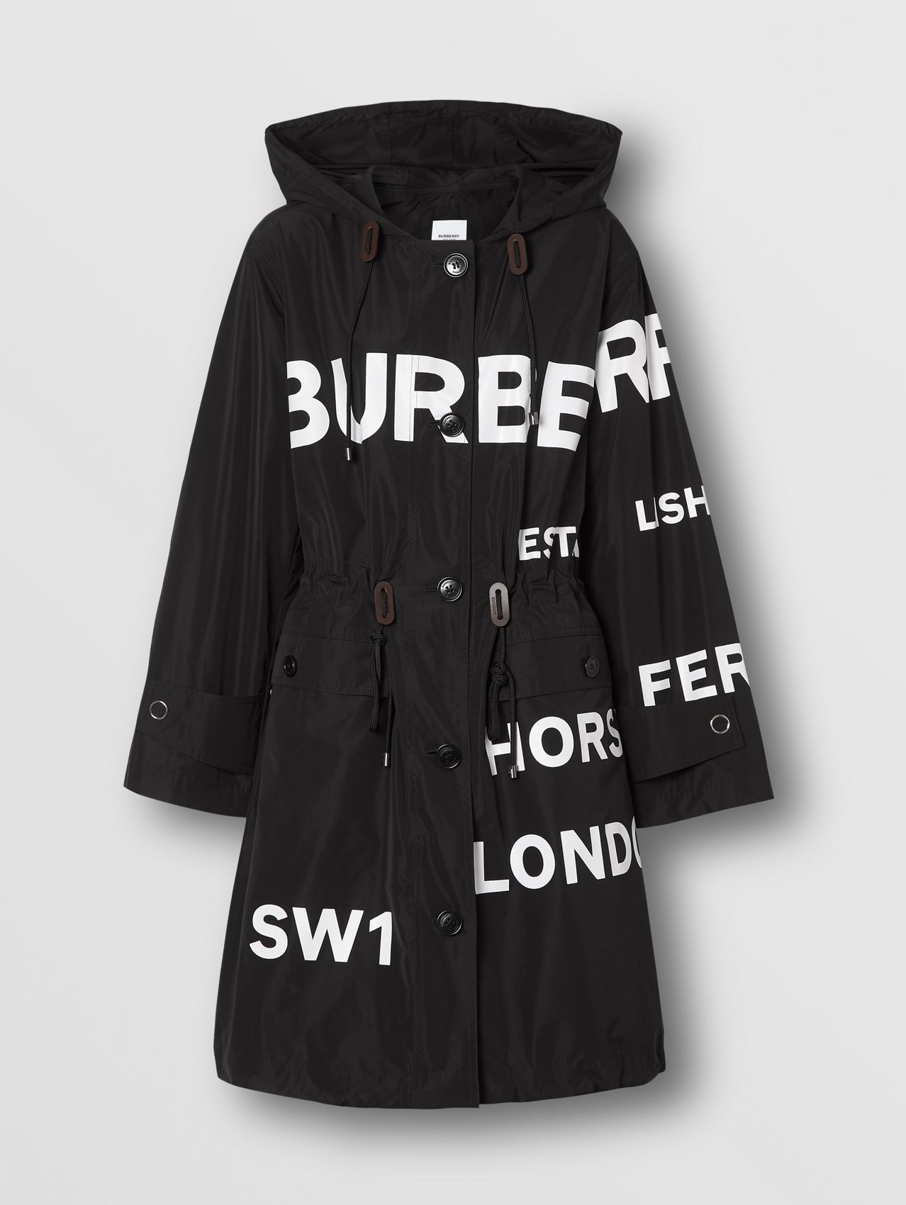 Horseferry Print Nylon Parka (Black)