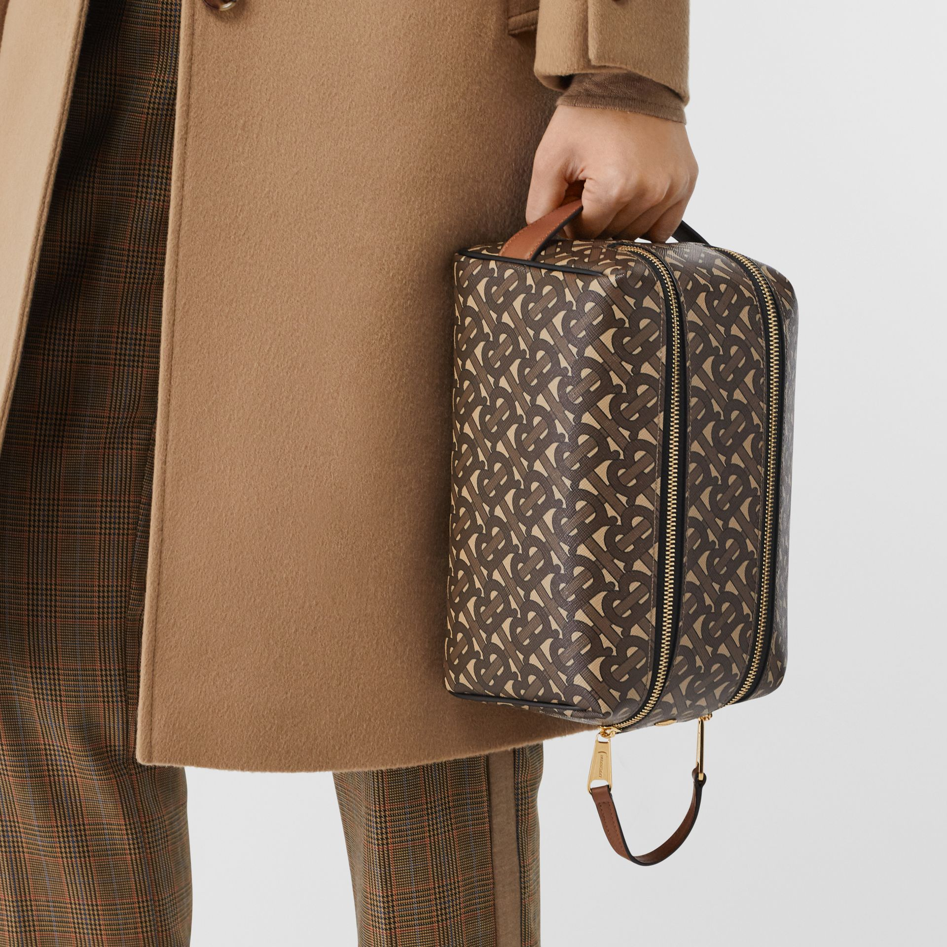 Monogram Print E-canvas Travel Pouch in Bridle Brown | Burberry - gallery image 2