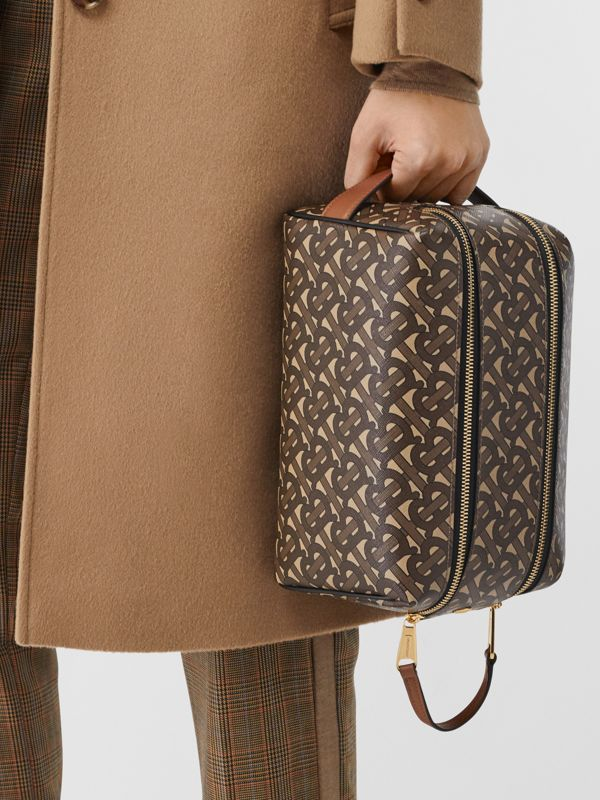 Monogram Print E-canvas Travel Pouch in Bridle Brown | Burberry - cell image 2