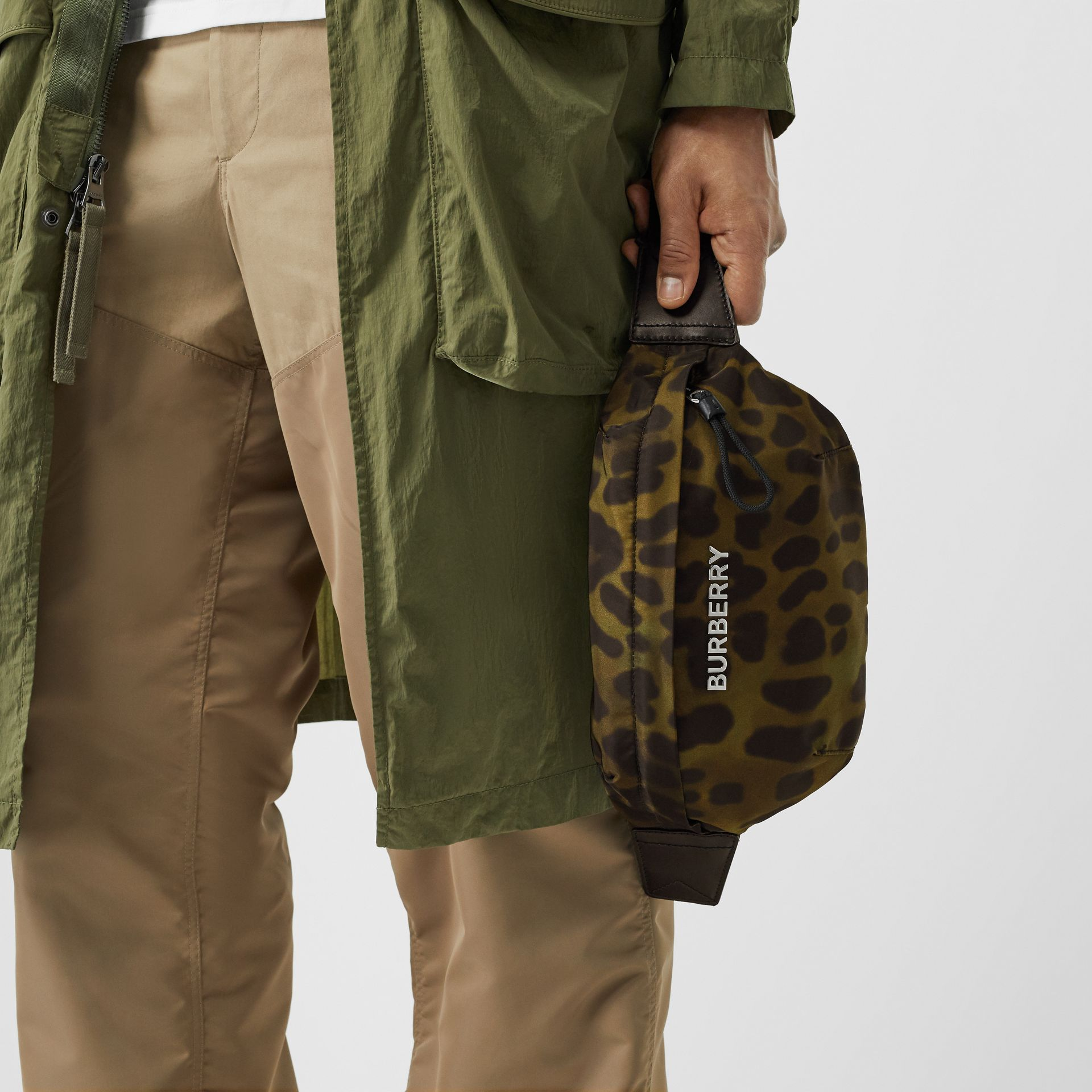 Medium Animal Print Bum Bag in Khaki Green - Men | Burberry - gallery image 3