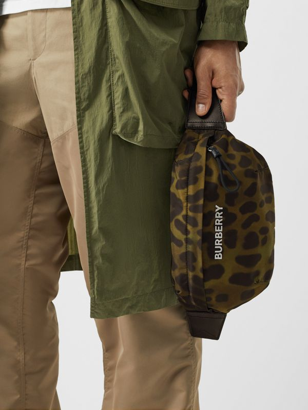 Medium Animal Print Bum Bag in Khaki Green - Men | Burberry - cell image 3