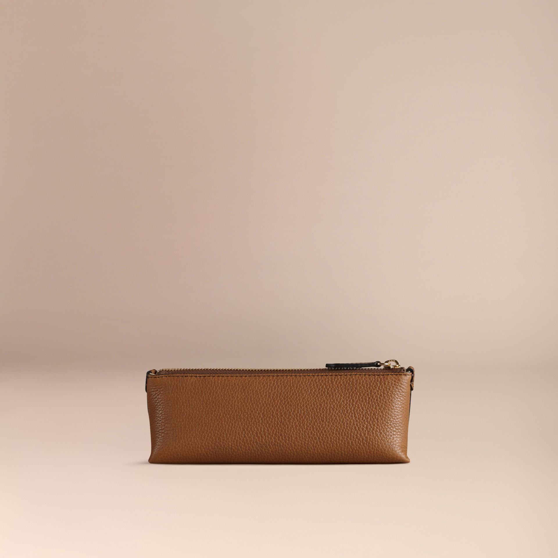 Tan Small Grainy Leather Digital Accessory Pouch Tan - gallery image 4