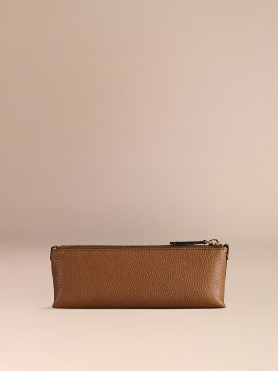 Tan Small Grainy Leather Digital Accessory Pouch Tan - cell image 3