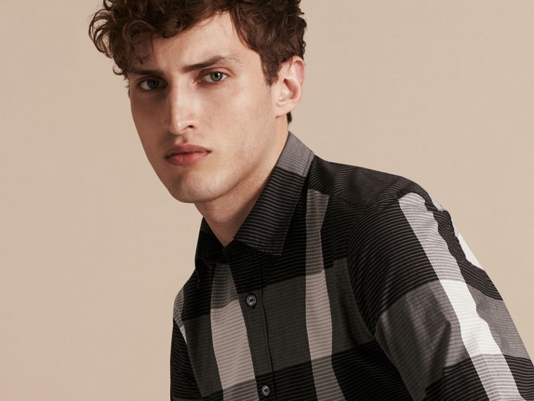 Black Graphic Check Cotton Shirt Black - cell image 4
