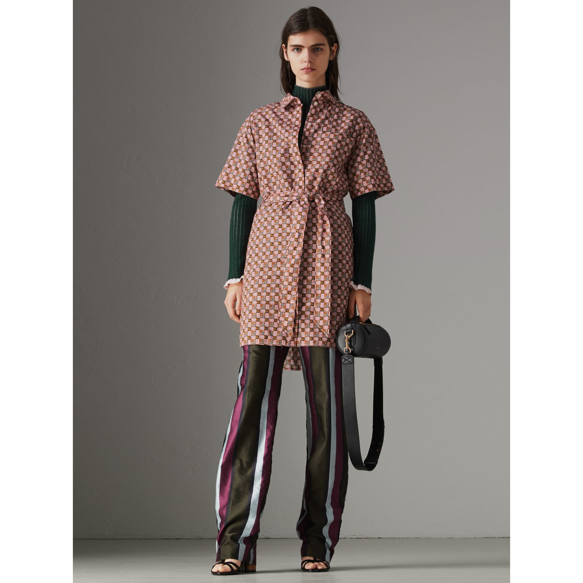 Tiled Archive Print Cotton Shirt Dress in Pink - Women | Burberry - gallery image 4