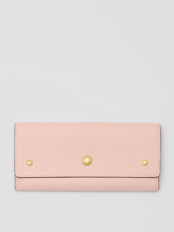 Grainy Leather Continental Wallet in Pale Ash Rose