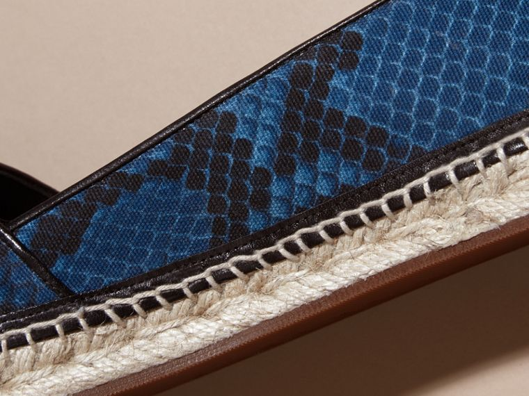 Mineral blue Tasselled Python Print Cotton and Leather Espadrilles Mineral Blue - cell image 1