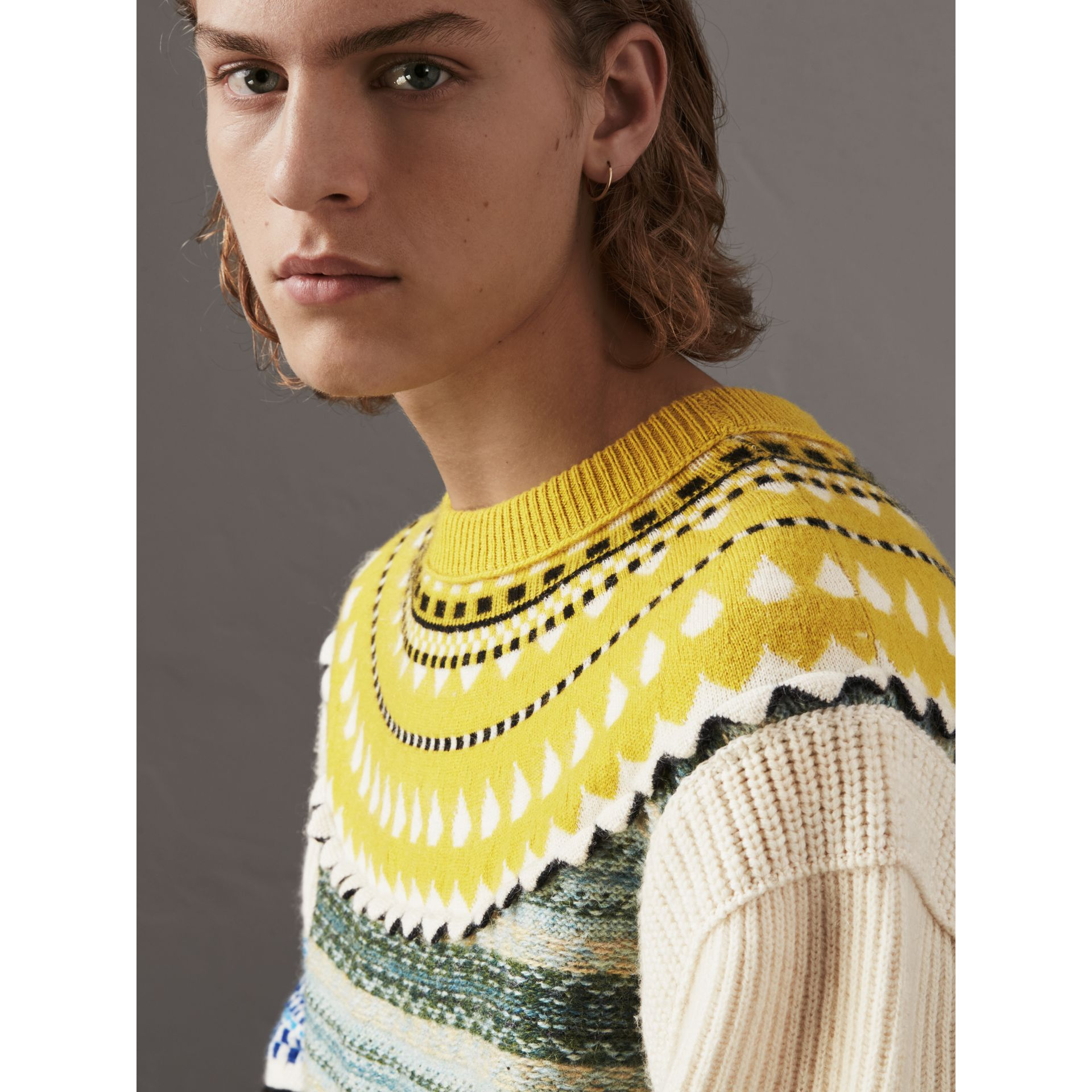 Fair Isle Multi-knit Cashmere Wool Sweater in Pine Green - Men | Burberry - gallery image 2