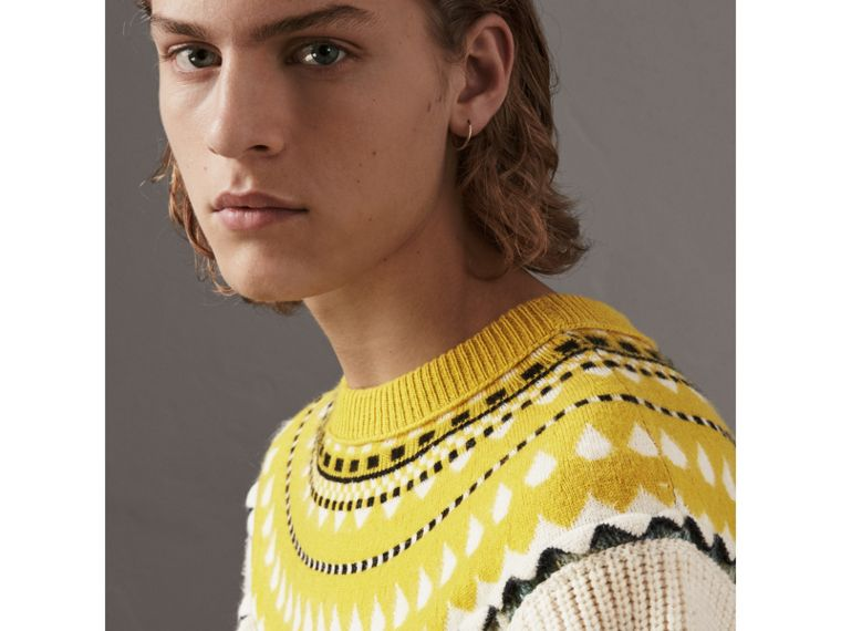 Fair Isle Multi-knit Cashmere Wool Sweater in Pine Green - Men | Burberry - cell image 1