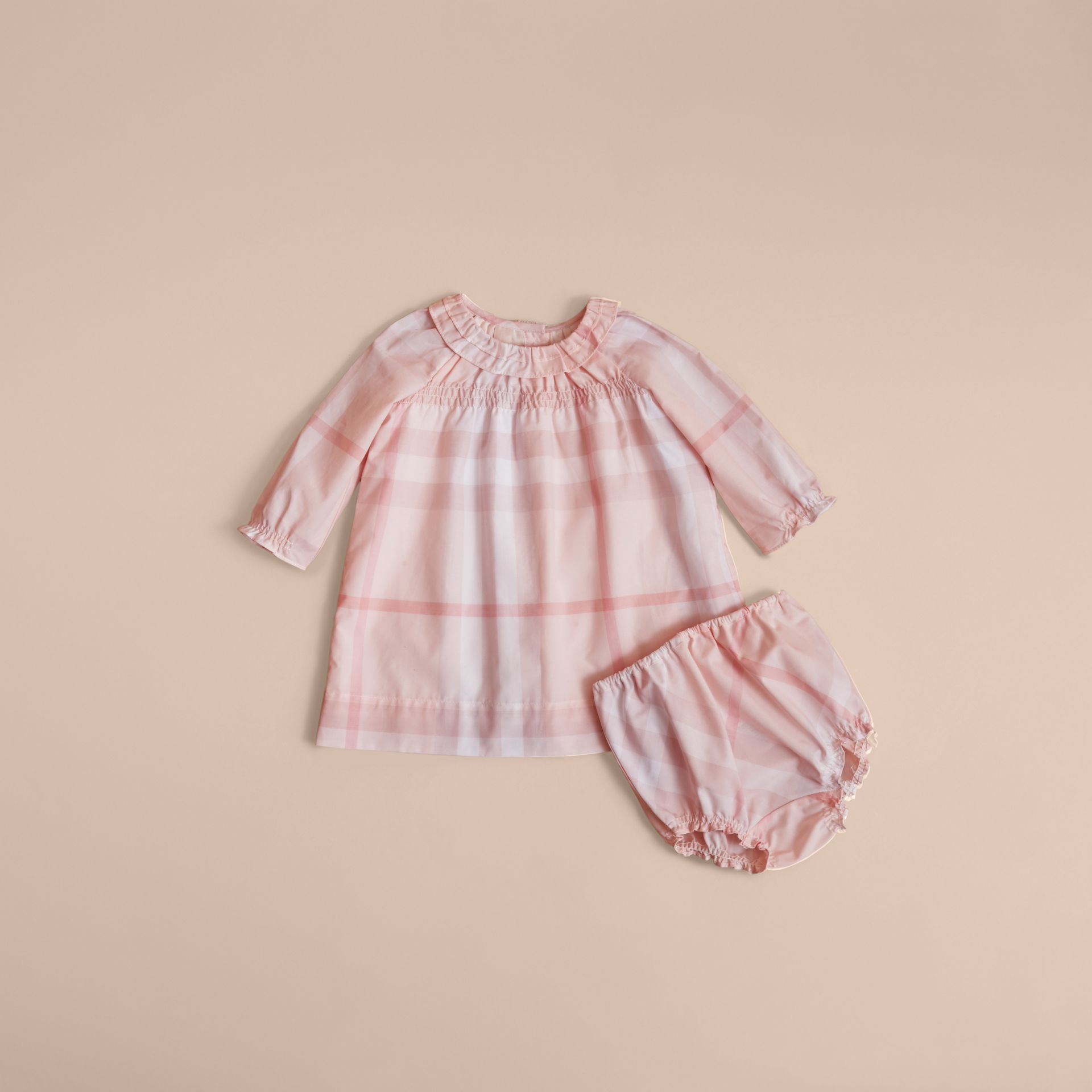Ruffle Detail Check Cotton Dress and Bloomers in Ice Pink | Burberry - gallery image 3