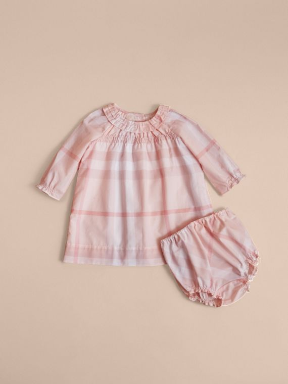 Ruffle Detail Check Cotton Dress and Bloomers in Ice Pink | Burberry - cell image 2
