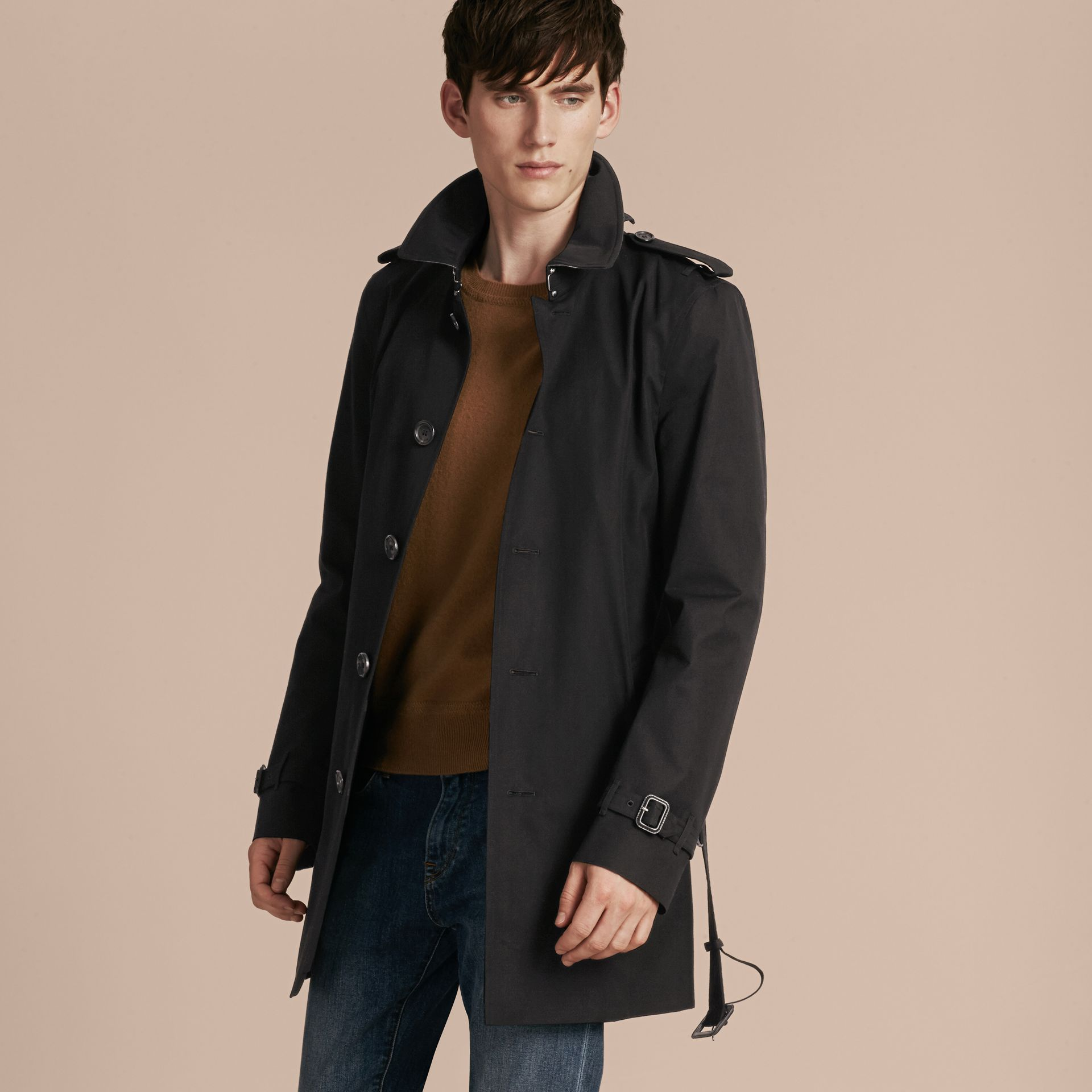 Black Cotton Gabardine Trench Coat - gallery image 8