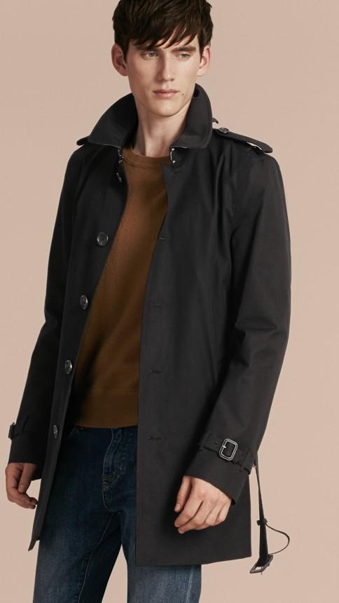 Black Cotton Gabardine Trench Coat Black - Image 8