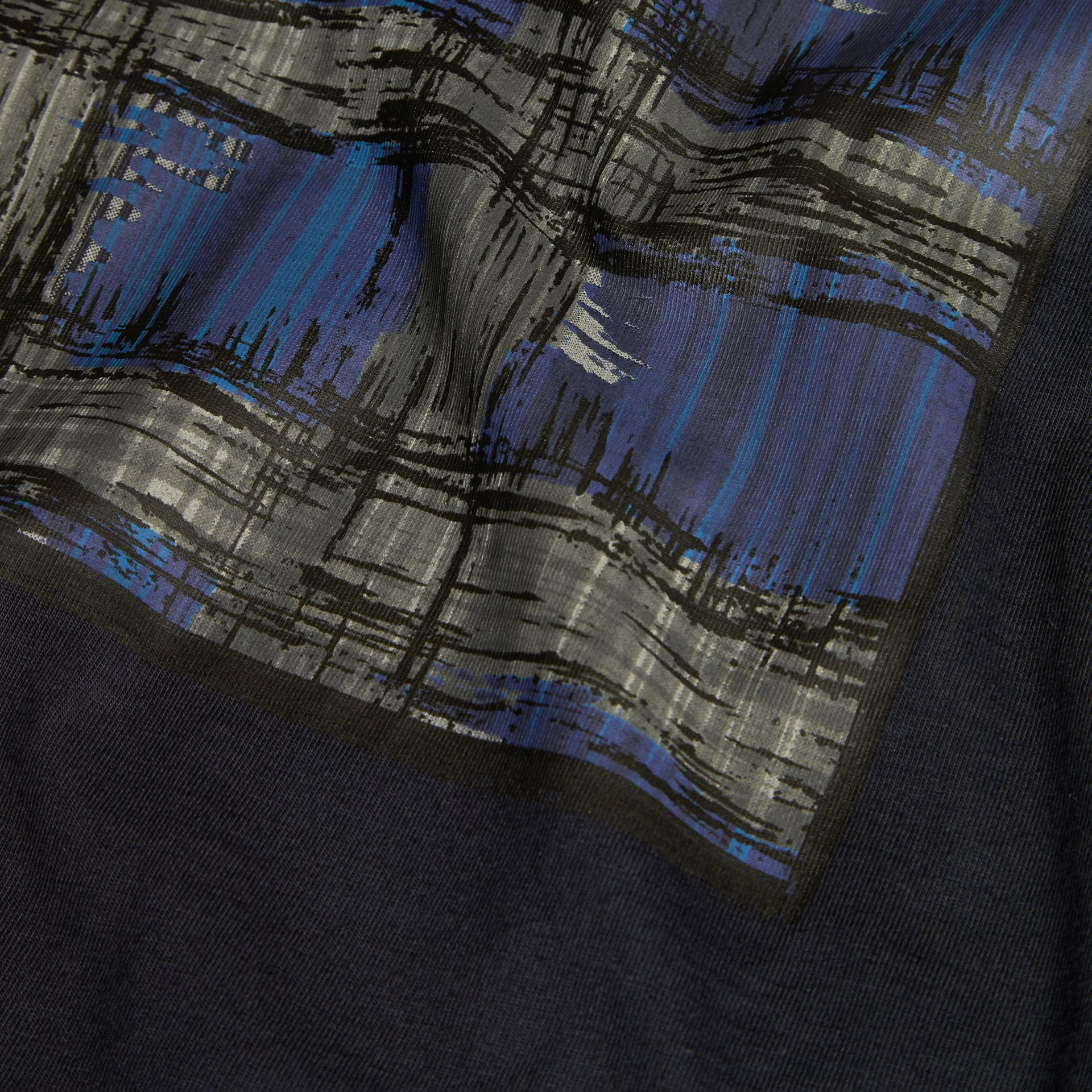 Navy Graphic Check Motif T-Shirt - gallery image 2