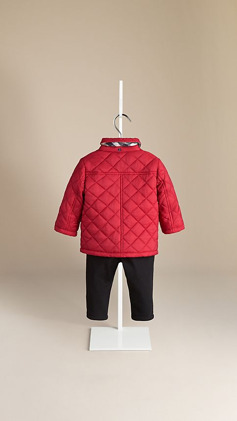 Military red Check Detail Diamond Quilted Jacket - Image 2