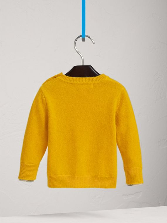 Check Detail Cashmere Sweater in Amber Yellow | Burberry - cell image 3