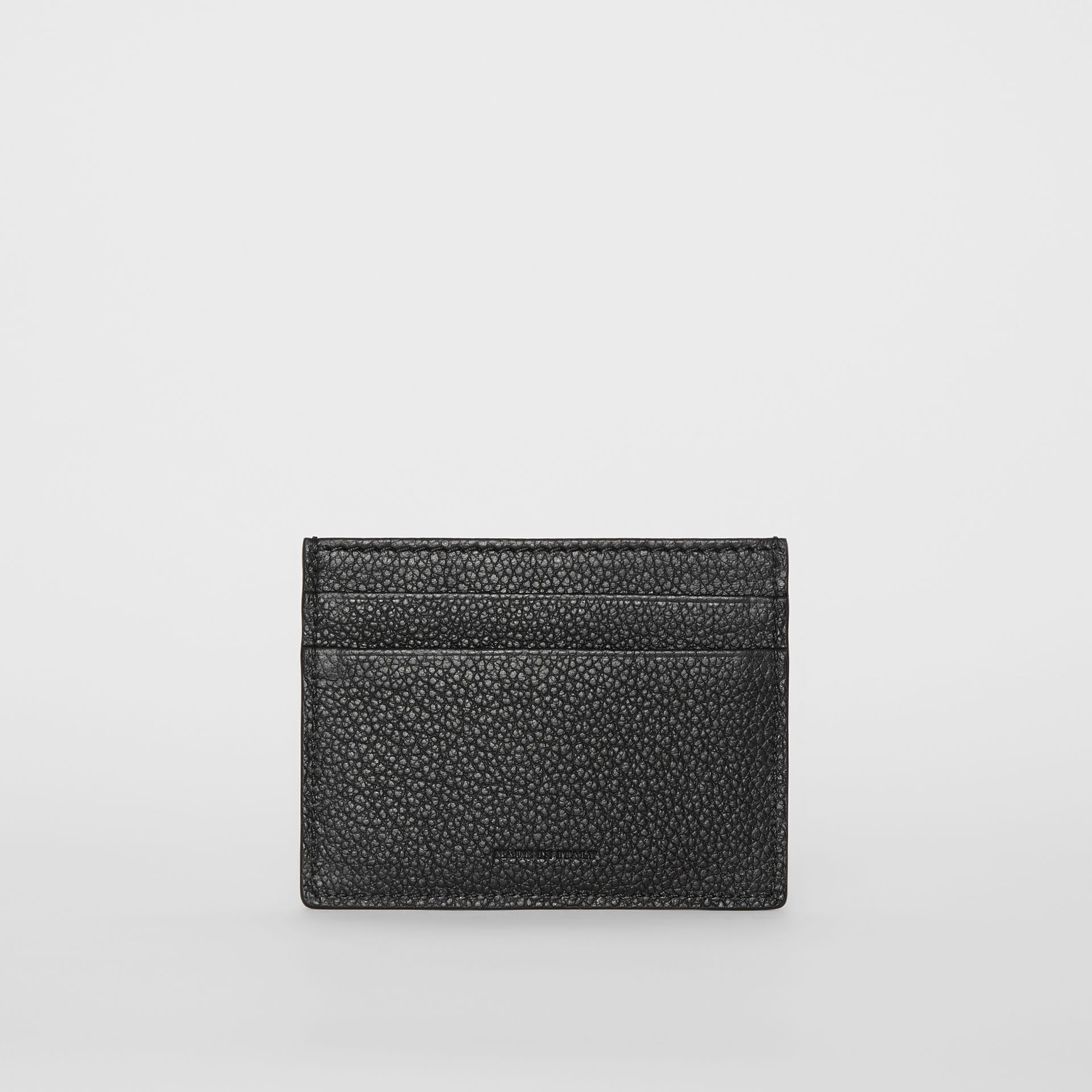 Grainy Leather Card Case in Black | Burberry - gallery image 4