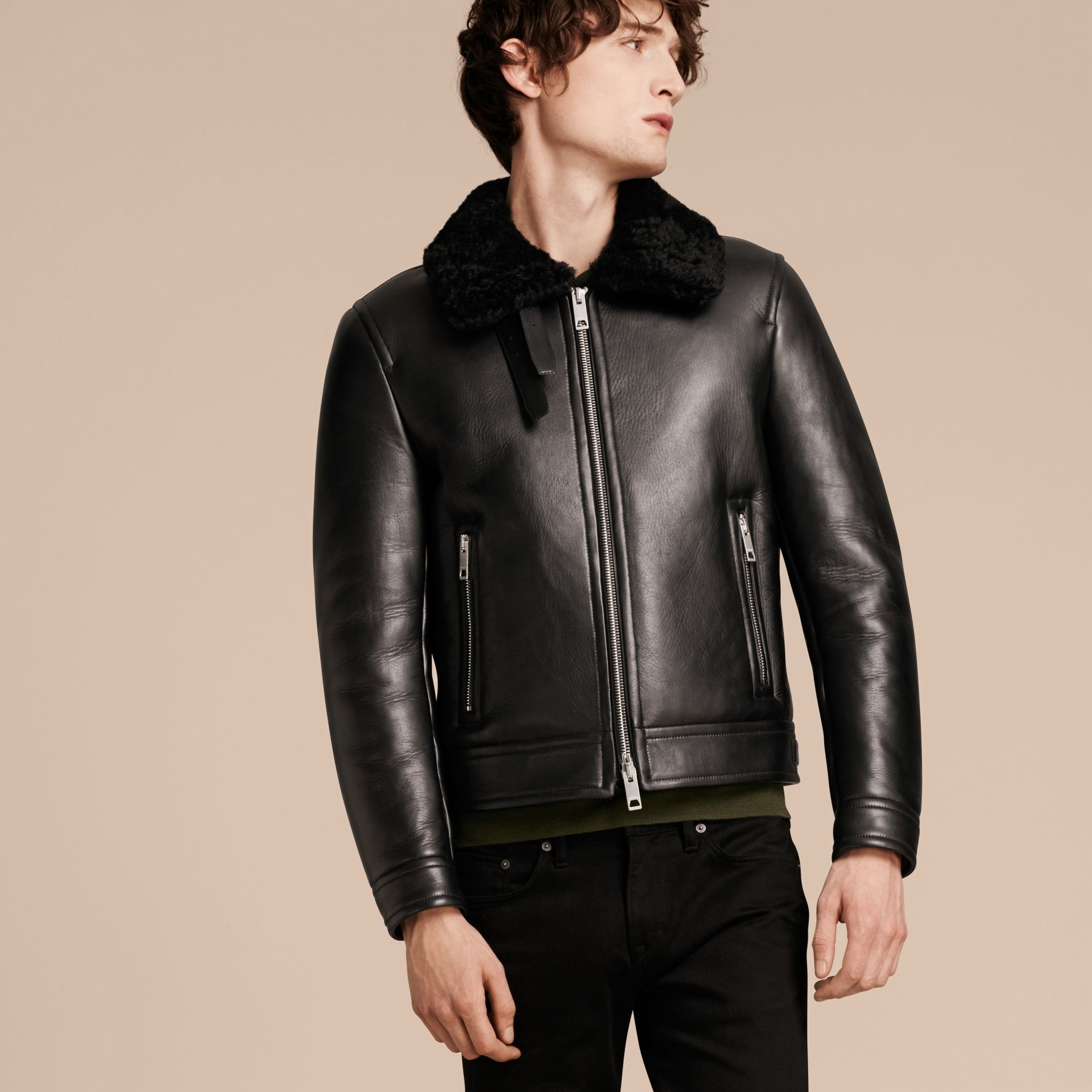 Black Lambskin and Shearling Aviator Jacket - gallery image 7