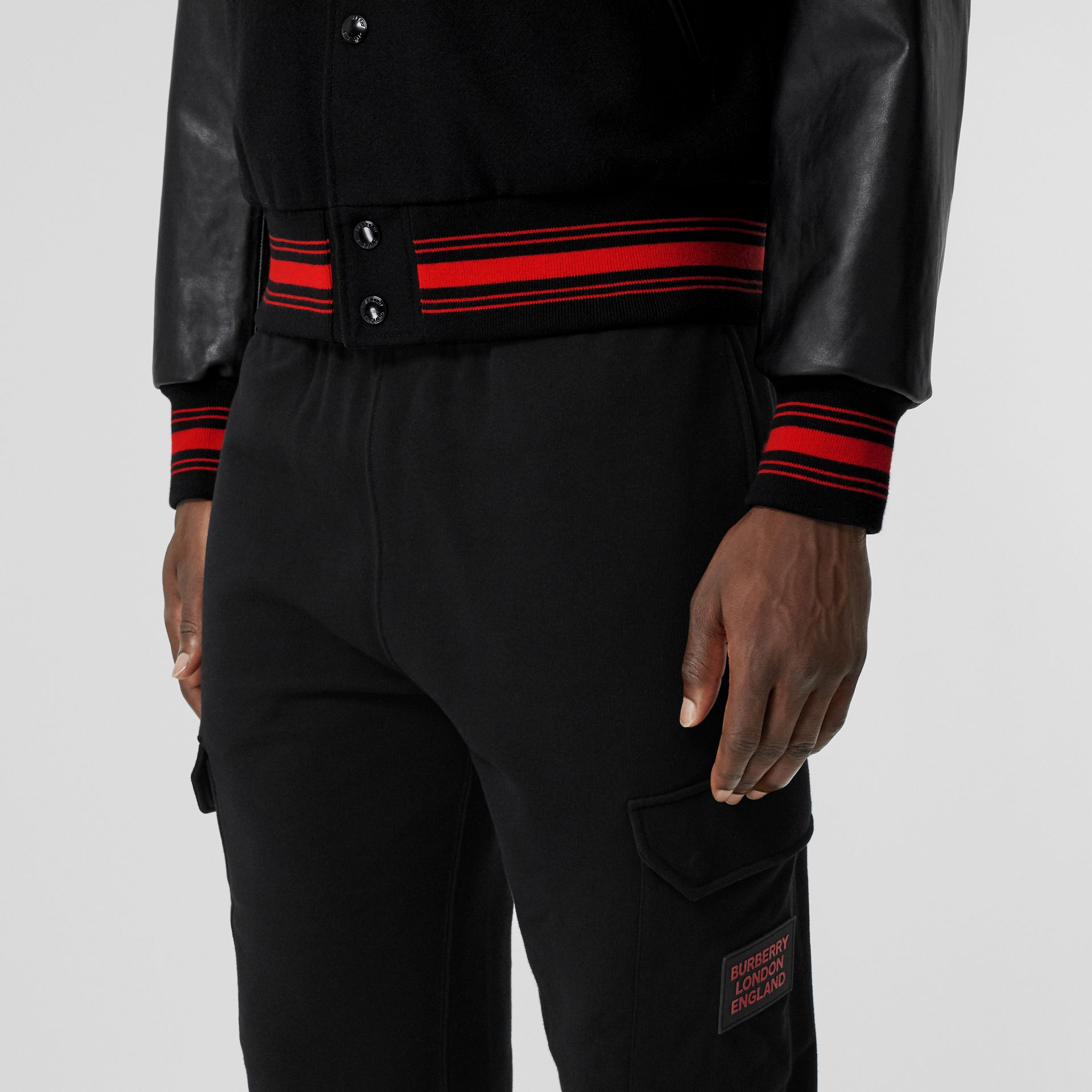Logo Appliqué Cotton Trackpants in Black - Men   Burberry United States - gallery image 1