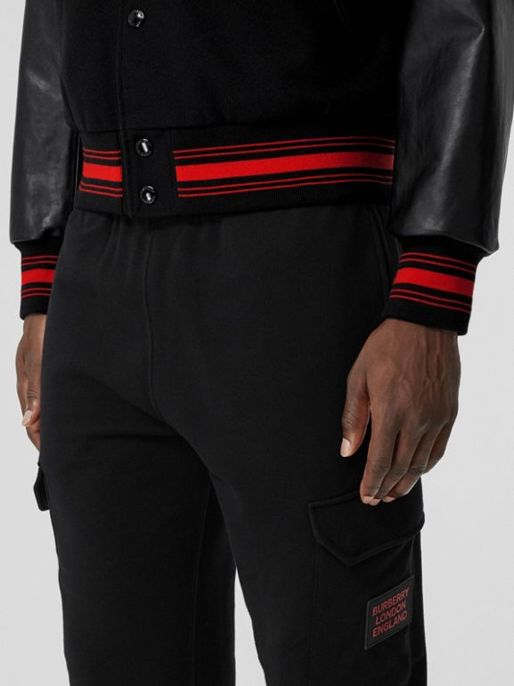 Logo Appliqué Cotton Trackpants in Black - Men   Burberry United States - cell image 1