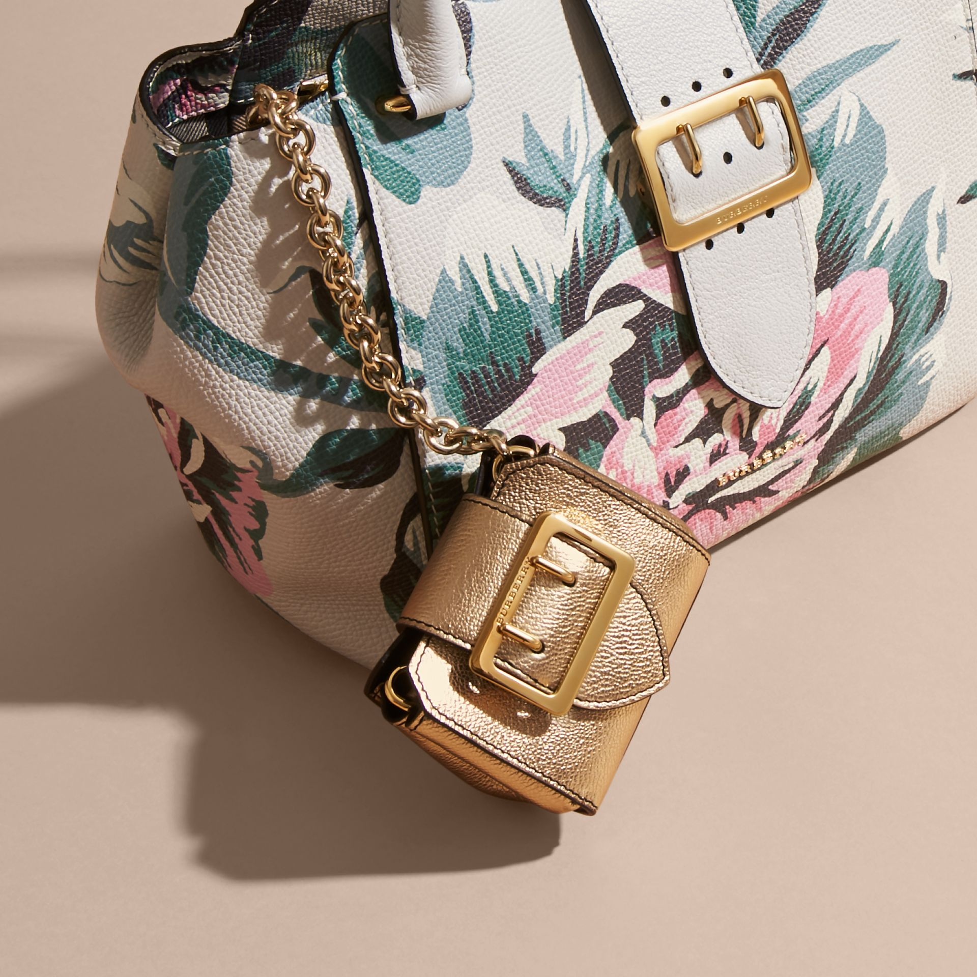 The Mini Buckle Tote Charm in Metallic Leather in Gold - gallery image 2