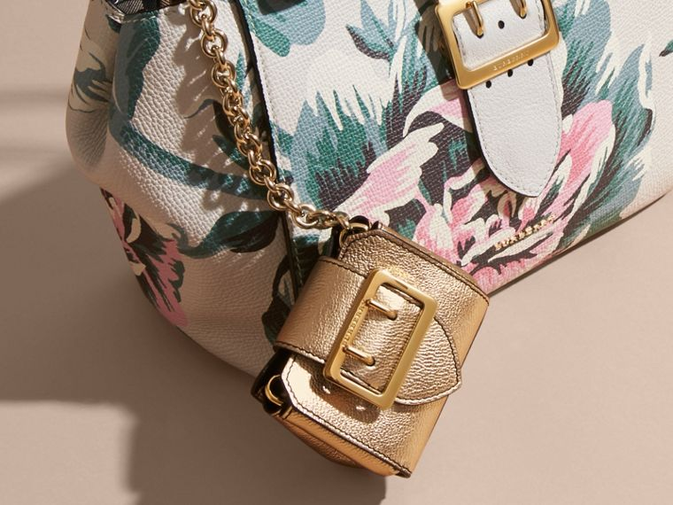 The Mini Buckle Tote Charm in Metallic Leather in Gold - cell image 1