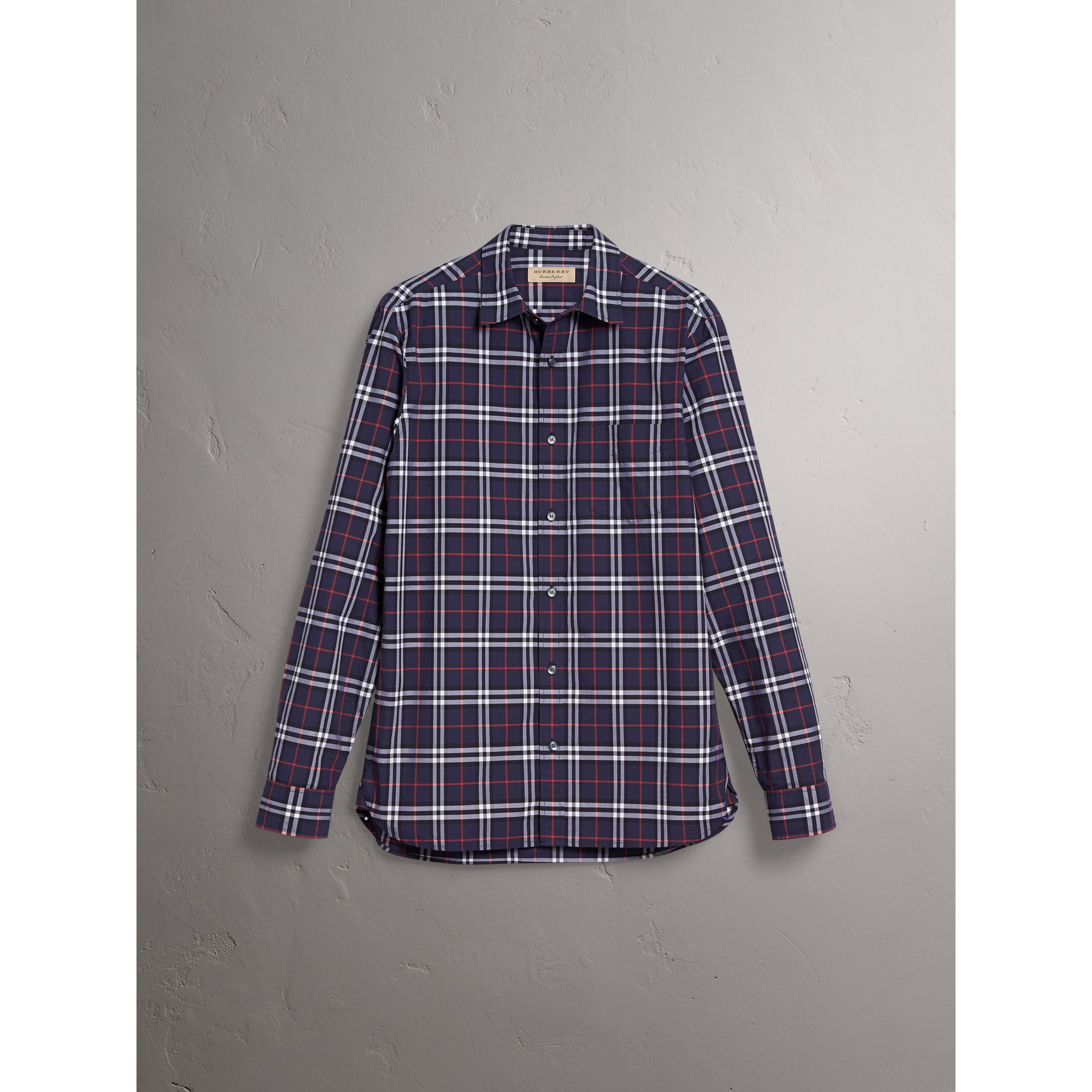 Check Cotton Shirt in Navy - Men | Burberry United Kingdom - gallery image 3