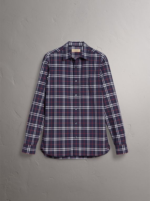 Check Cotton Shirt in Navy - Men | Burberry Singapore - cell image 3