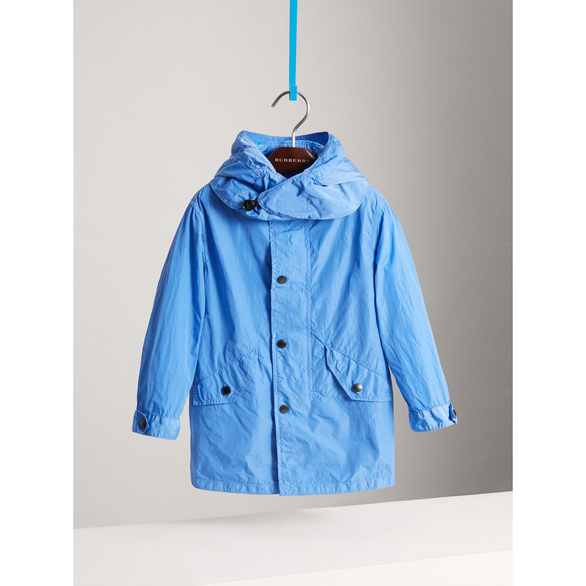 Detachable Hood Lightweight Parka Coat in Chalk Blue - Boy | Burberry - gallery image 0