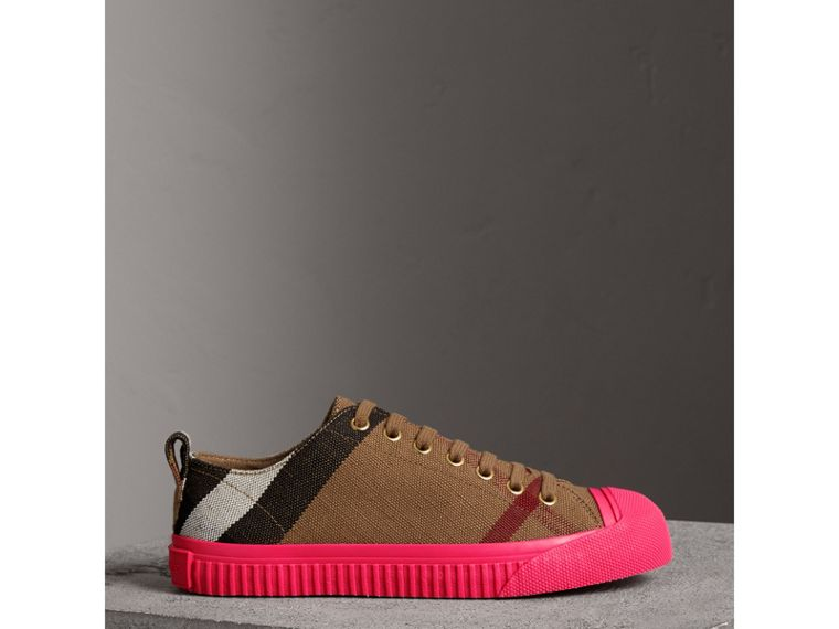 Canvas Check and Leather Sneakers in Classic - Women | Burberry - cell image 4