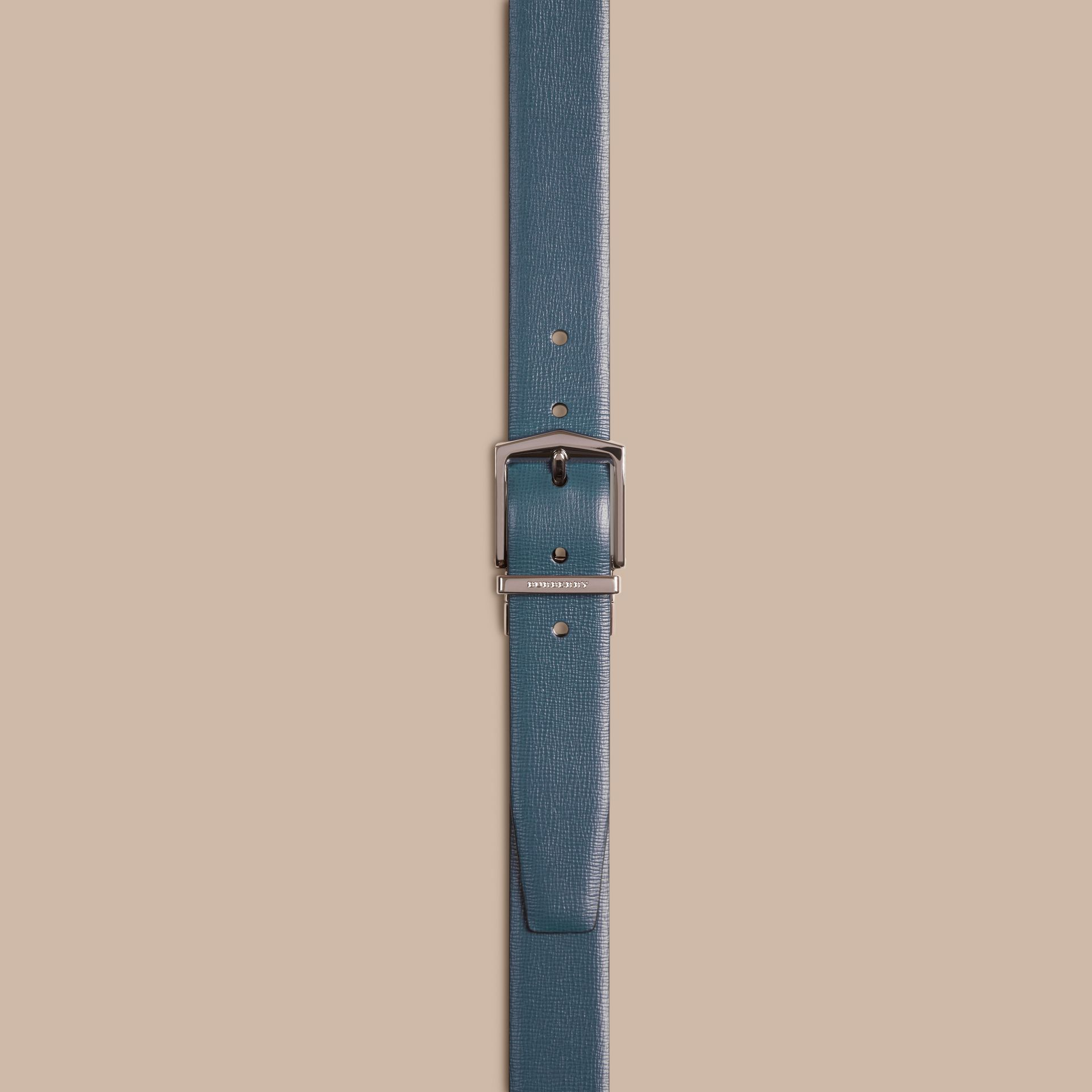 Reversible London Leather Belt Mineral Blue/black - gallery image 3