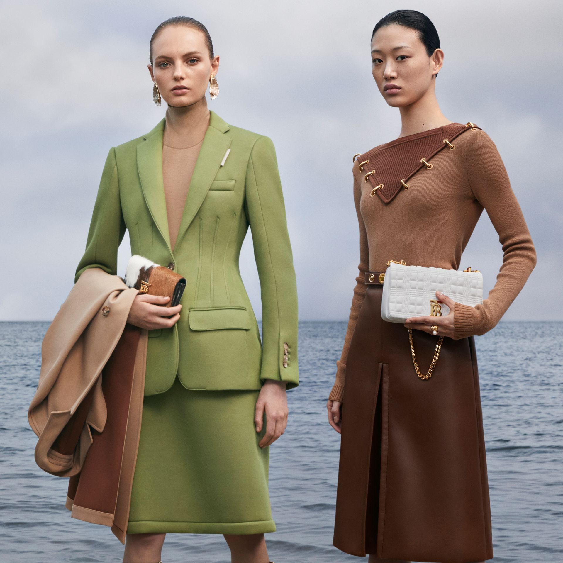 Double-faced Neoprene Skirt in Cedar Green - Women | Burberry - gallery image 7
