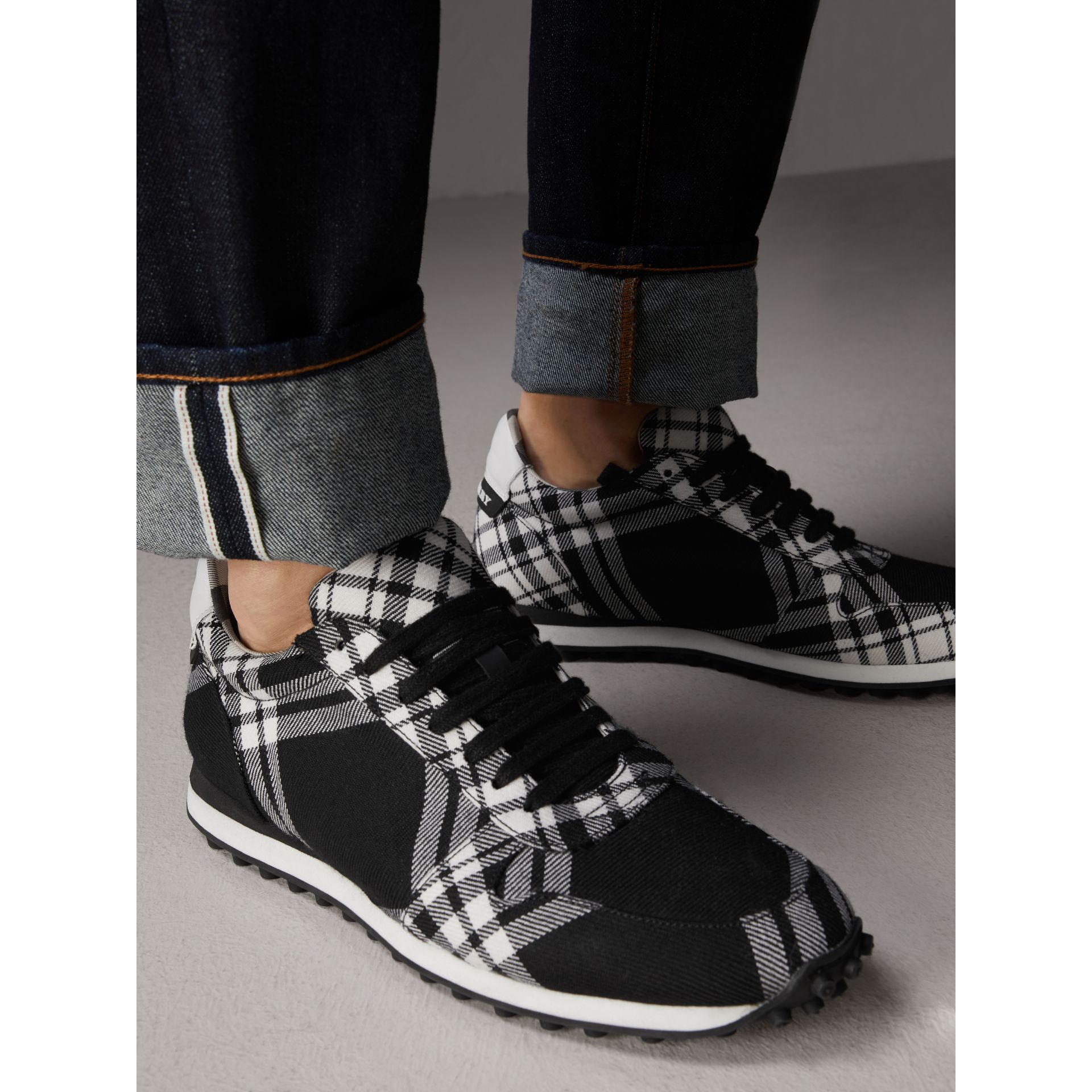 Tartan Wool Trainers in Black - Men | Burberry - gallery image 3