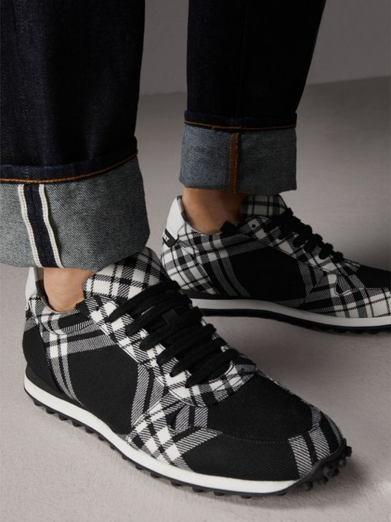 Tartan Wool Trainers in Black - Men | Burberry - cell image 2