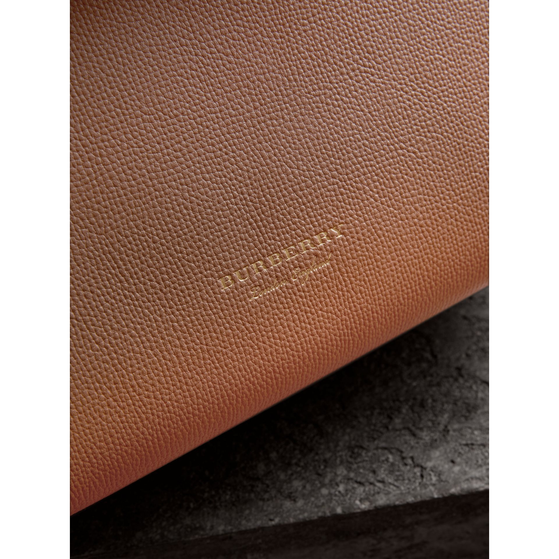 Medium Grainy Leather and House Check Tote Bag in Dark Sand - Women | Burberry Singapore - gallery image 1