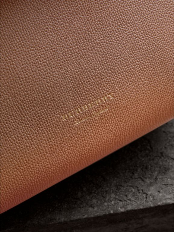 Medium Grainy Leather and House Check Tote Bag in Dark Sand - Women | Burberry - cell image 1