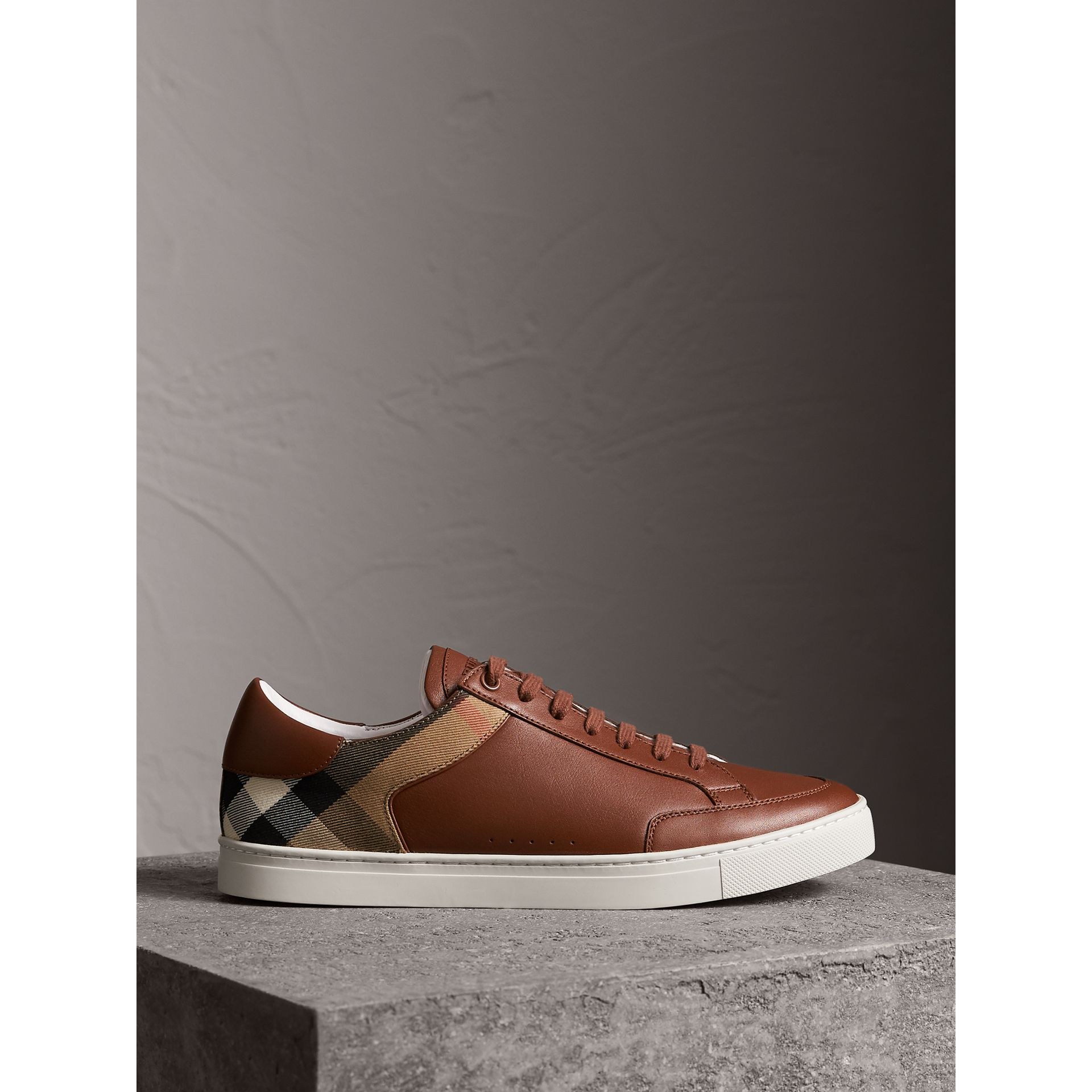 Leather and House Check Trainers in Check/bright Camel - Men | Burberry - gallery image 4