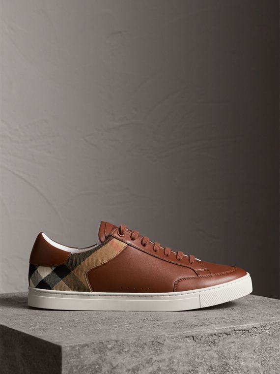 Leather and House Check Trainers in Check/bright Camel - Men | Burberry - cell image 3