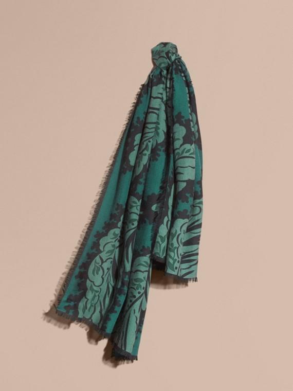 Leaf Print Cashmere Scarf Dark Teal
