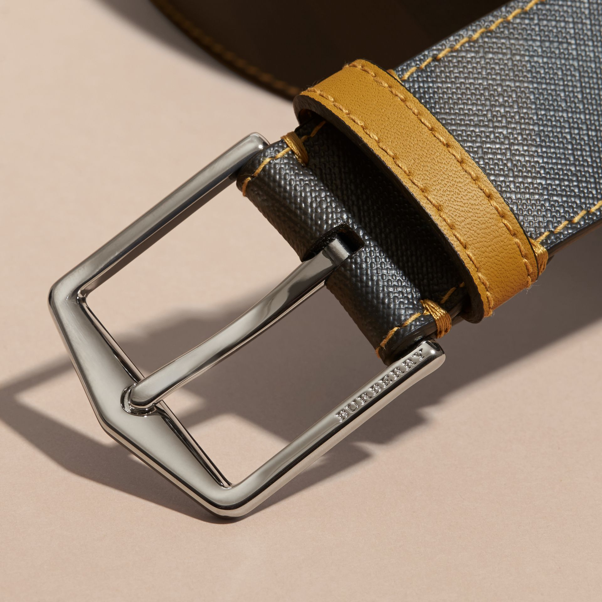 Topstitch Detail Leather Trim London Check Belt Larch Yellow - gallery image 2