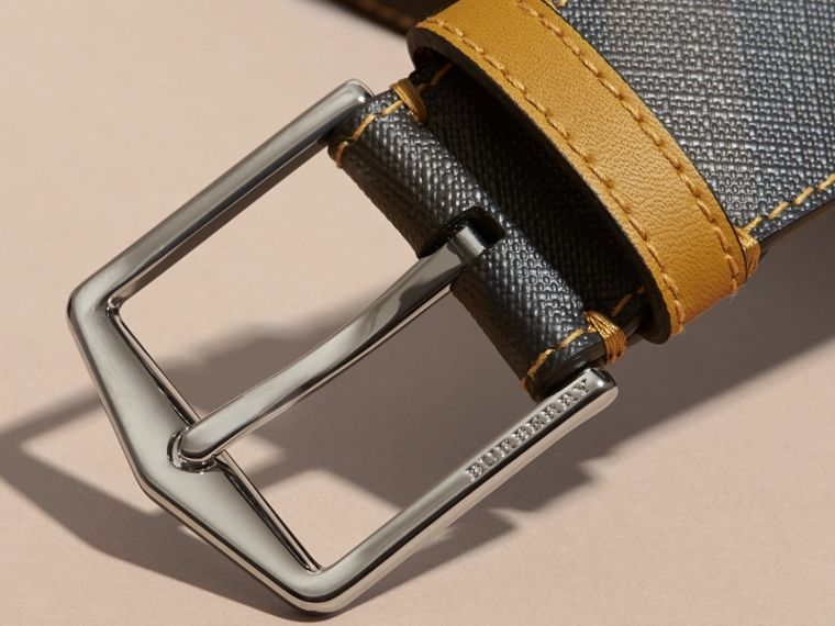 Topstitch Detail Leather Trim London Check Belt in Larch Yellow - cell image 1