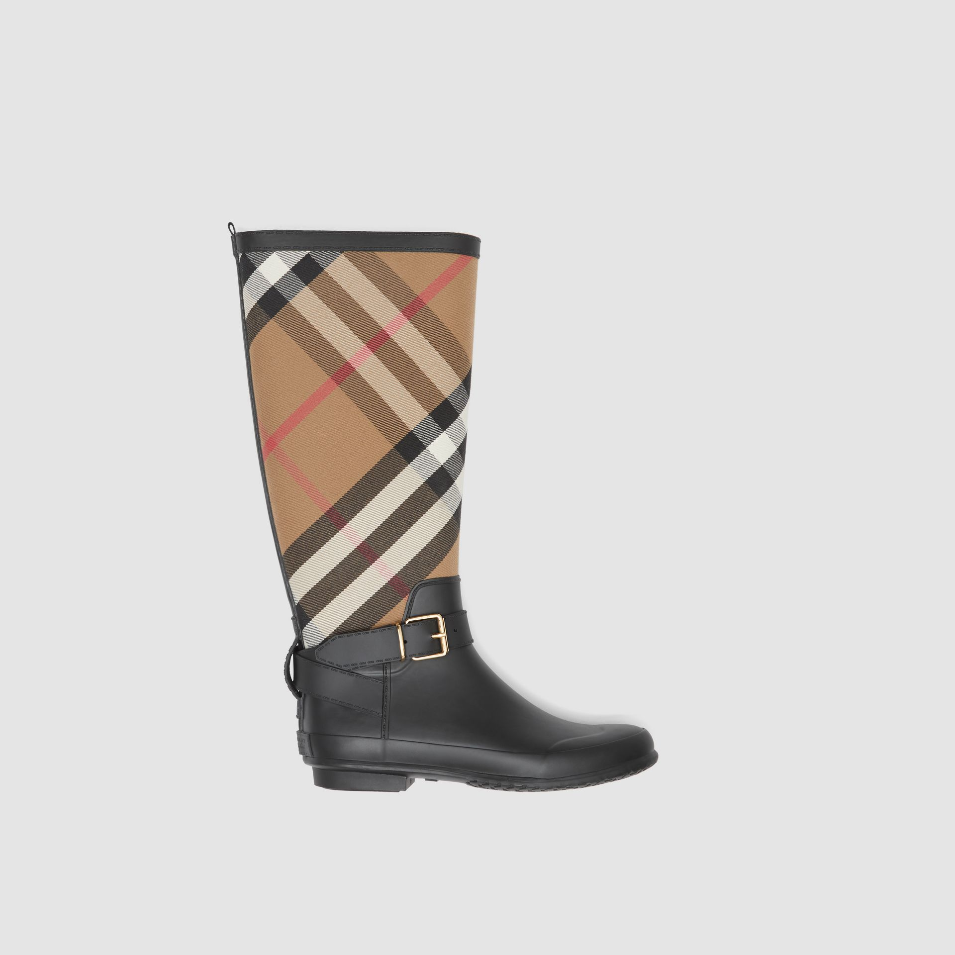 Belt Detail Check and Rubber Rain Boots in House Check/black - Women | Burberry Australia - gallery image 0