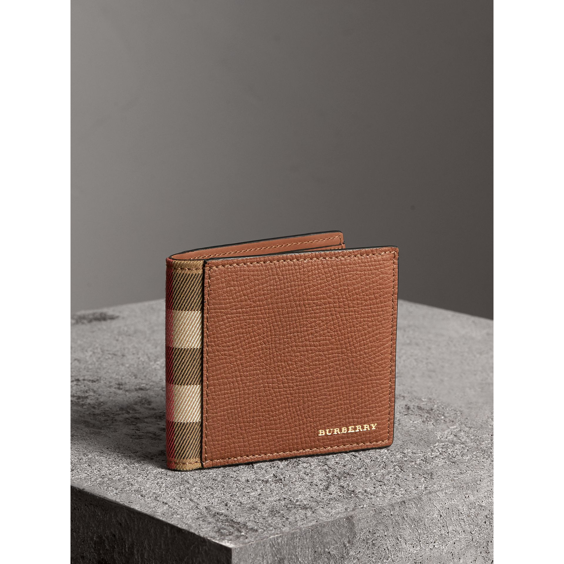 Leather and House Check International Bifold Wallet in Chestnut Brown | Burberry - gallery image 1