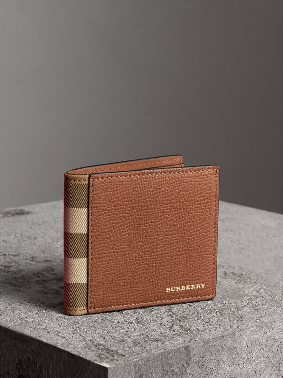 Leather and House Check International Bifold Wallet in Chestnut Brown